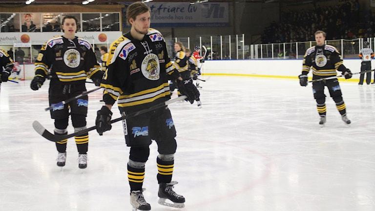 Ishockeyspelare från Vimmerby hockey. Foto: Patrik Wirengård/Sveriges Radio