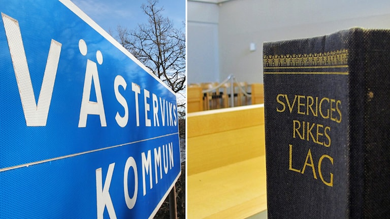 Västerviks kommun-skylt och lagbok. Foto: Nick Näslund/Sveriges Radio