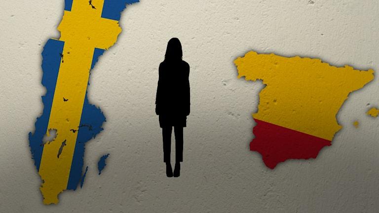 Sverige och Spanien. Illustration: Nick Näslund/Sveriges Radio