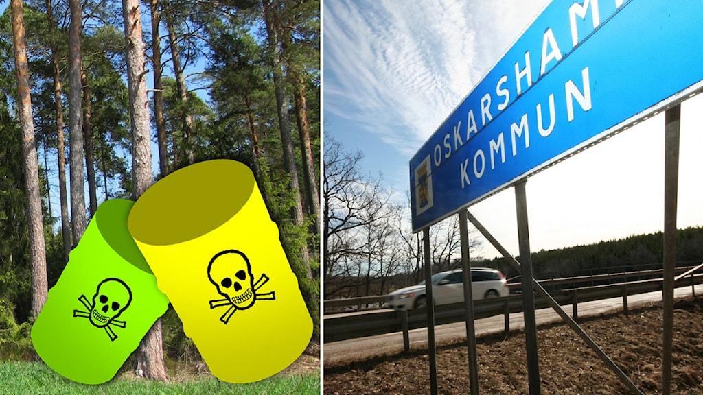 Gifttunnor och Oskarshamns kommunskylt. Illustration/foto: Nick Näslund/Sveriges Radio