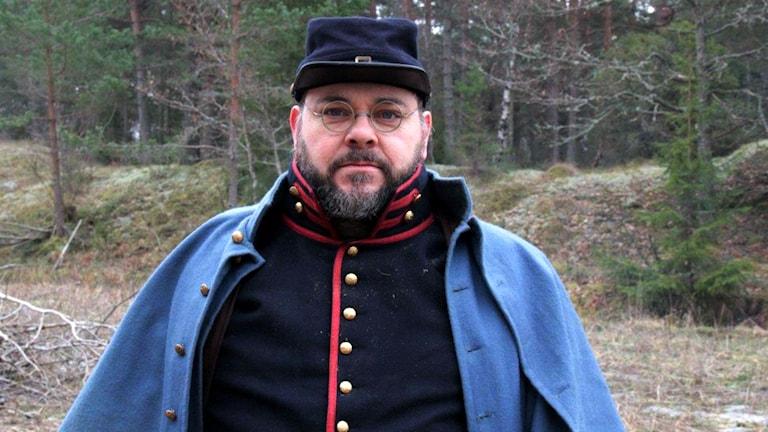 NordSyd Torsten Hansson en av arrangörerna som också deltar i återskapandet av striden. Foto: Leif Joihansson/Sveriges radio