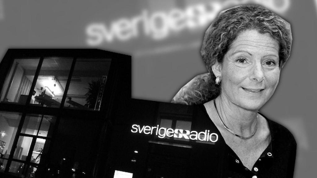 Cilla Benkö och radiohus. Foto/kollage: Sveriges Radio