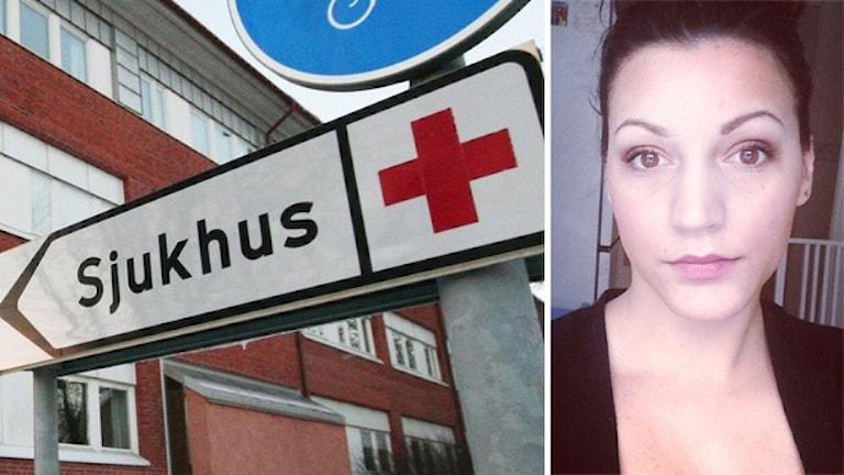 Sjukhus och Eleni Kalpaka. Foto: Nick Näslund/Sveriges Radio och privat