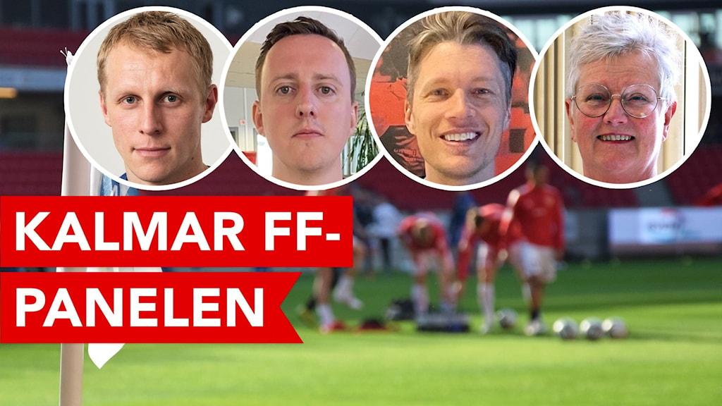 Fotbollsspelare i bakgrunden och fyra porträttbilder i förgrunden.
