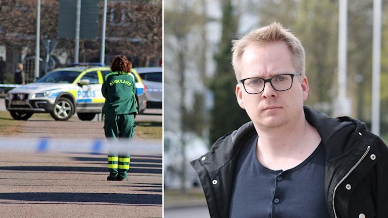 Räddningspådrag och Nick Näslund. Foto: Nick Näslund och Malin Flodén/Sveriges Radio