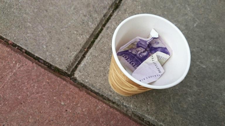Pappmugg med pengar. Foto: Nick Näslund/Sveriges Radio