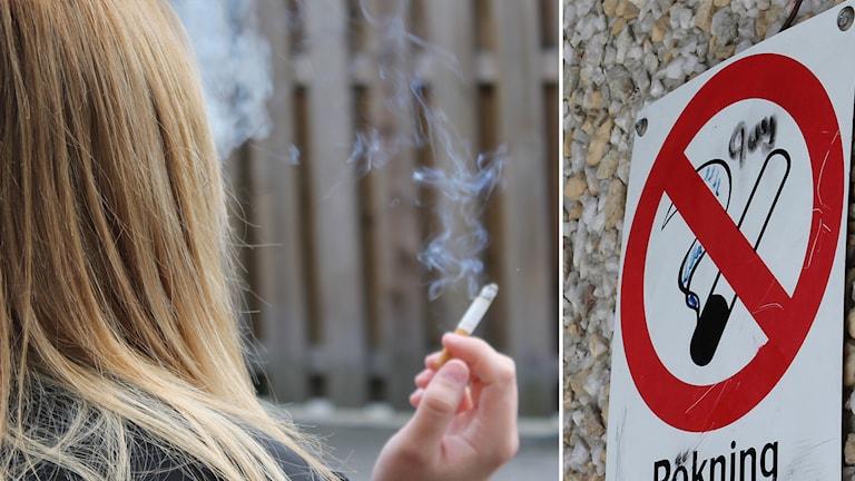 Rökare och förbudsskylt