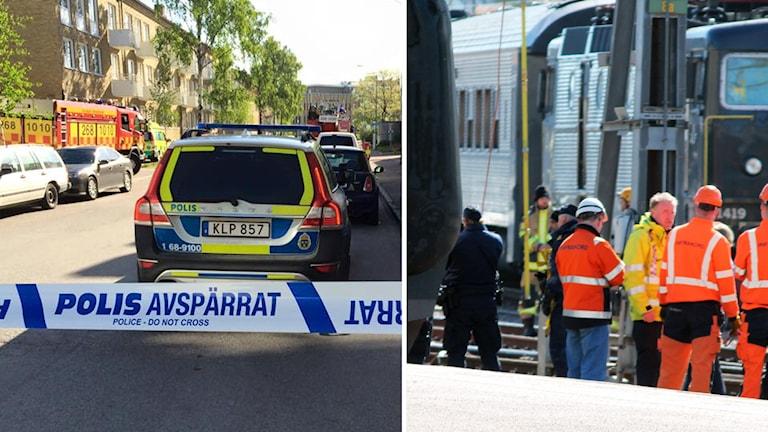 Räddningsinsatser. Foto: Bosse Nilsson och Nick Näslund/Sveriges Radio