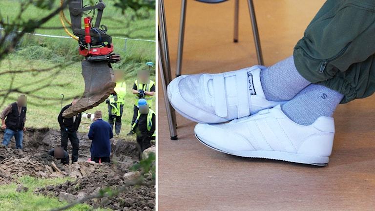 Polisens tekniker och den dömde mannens fötter. Foto: Nick Näslund/Sveriges Radio och Sigrid Edsenius/Sveriges Radio