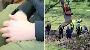 Den dömde mannens händer och polisens tekniker. Foto: Sigrid Edsenius/Sveriges Radio och Nick Näslund/Sveriges Radio