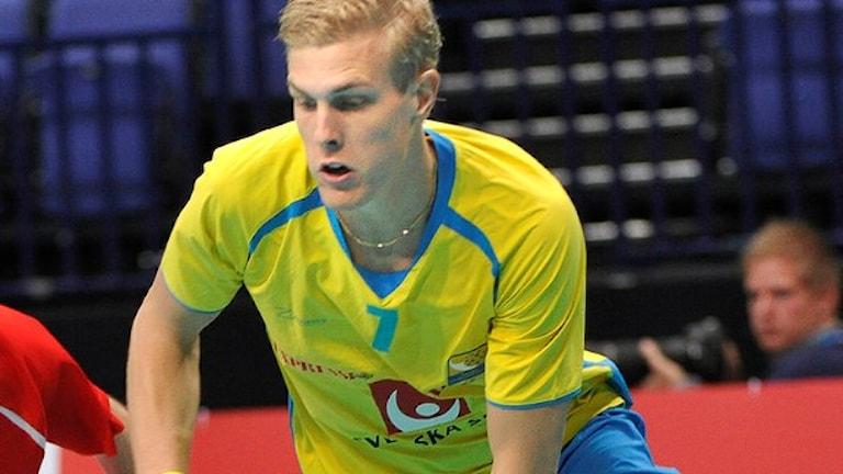 Kim Nilsson gjorde ett nytt mål när Sverige vann Euro Floorball. Denna bilden är tagen från ett annat tillfälle