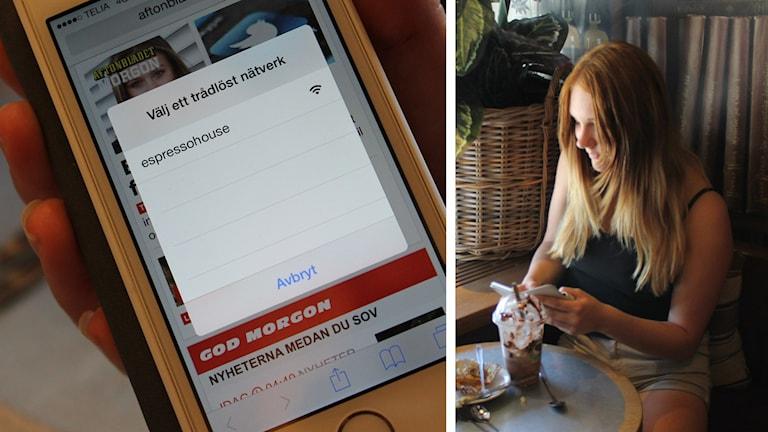 Wifi öppet nätverk i mobil och Emma Karlsson som surfar på café. Foto: Johanna Lindblad Ahl/Sveriges Radio