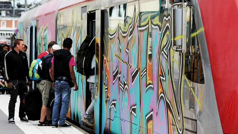 Nedklottrat tåg i Kalmar.