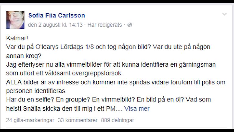 Sofia Carlssons fb-inlägg