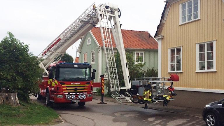 Brandbil. Foto: Peter Bressler/Sveriges Radio