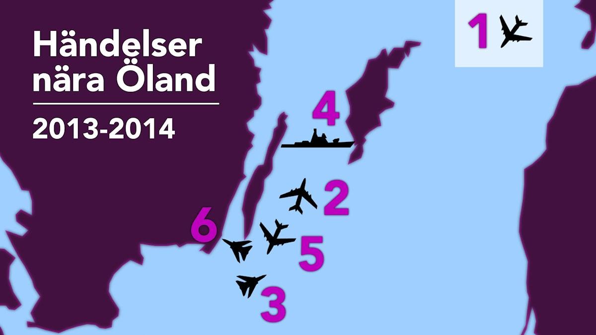 Karta: incidenter samt kränkningar av svenskt territorium 2013-2014. Grafik: Nick Näslund/Sveriges Radio