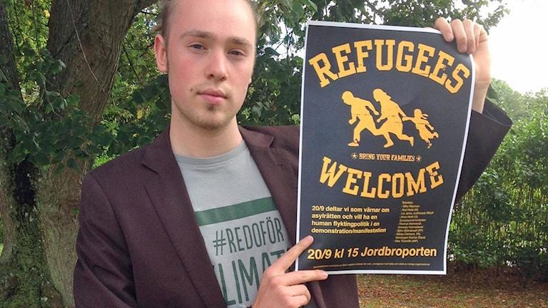 Max Troendlé är ordförande för Grön ungdom i Kalmar län, och en av initiativtagarna till manifestationen.