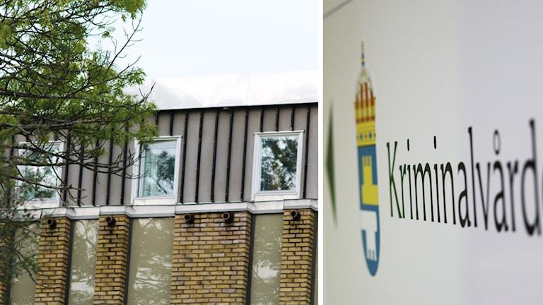 Häktet och Kriminalvårdens logotyp på en skylt.