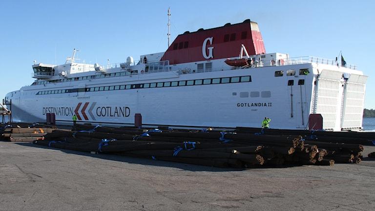 Gotlandia II, Destination Gotland, lägger till i Västervik. Foto: Leif Johansson/Sveriges Radio