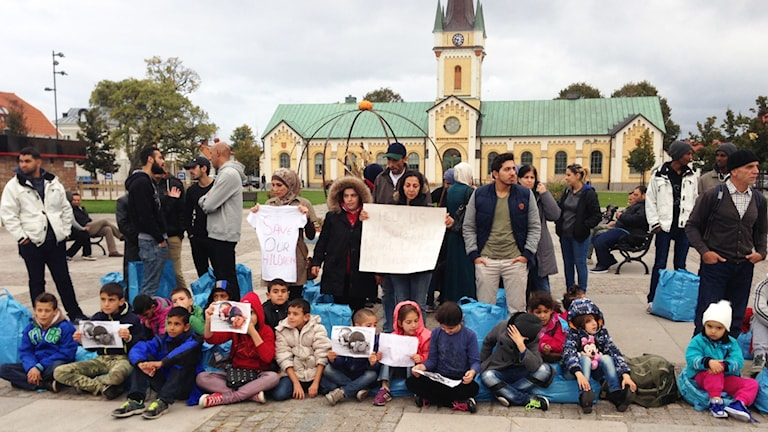 Asylsökande demonstrerar i Borgholm. Foto: Privat