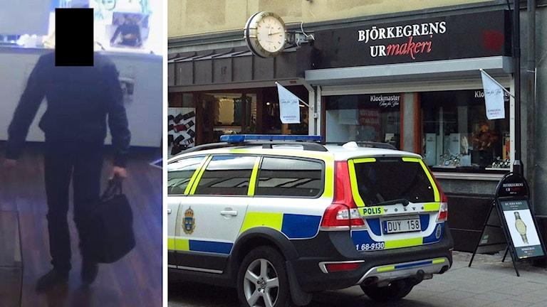 Misstänkt rånare fångad av övervakningskameran och polisbil utanför butiken.
