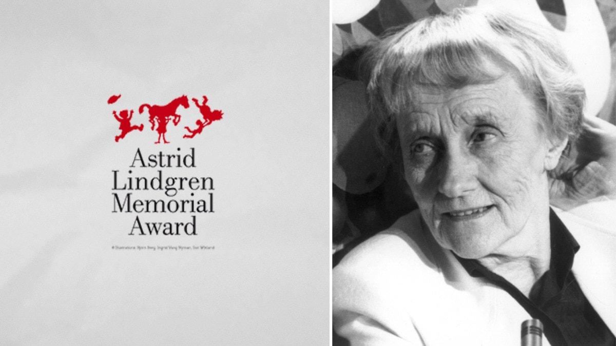Alma-prisets logotyp och Astrid Lindgren. Foto: ALMA