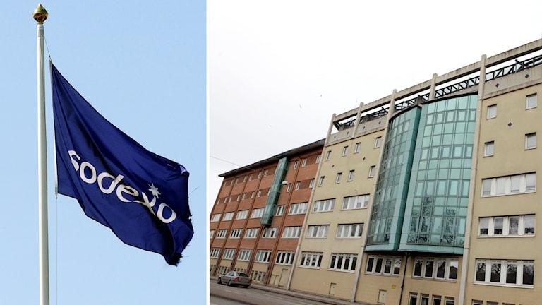 Sodexo-flagga och polishuset i Malmö. Foto: Ingvar Karmhed och Drago Prvulovic/TT