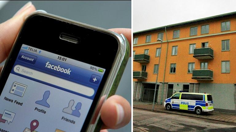 Facebookapp och polishus. Foto: Janerik Henriksson/TT och Nick Näslund/Sveriges Radio