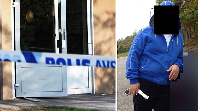 Polisavspärrningsband framför dörr med skotthål. Till höger: En bild av den dömde mannen. Foto: Sveriges Radio och polisen