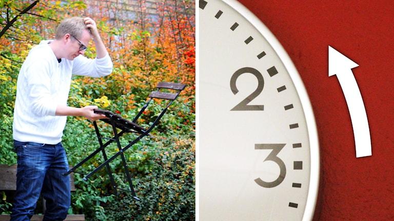 Trädgårdsmöbler och klocka