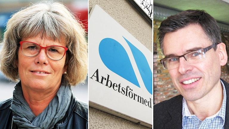 Christina Davidson, en skylt på Arbetsförmedlingen och Lars Rosander. Foto: Nick Näslund och Erika Norberg/Sveriges Radio
