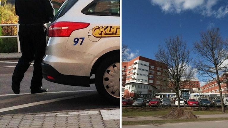 Taxi och länssjukhuset. Foto: Alexander Jungå och Nick Näslund/Sveriges Radio
