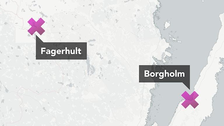 Karta: Fagerhult Borgholm. Foto: CartoDB