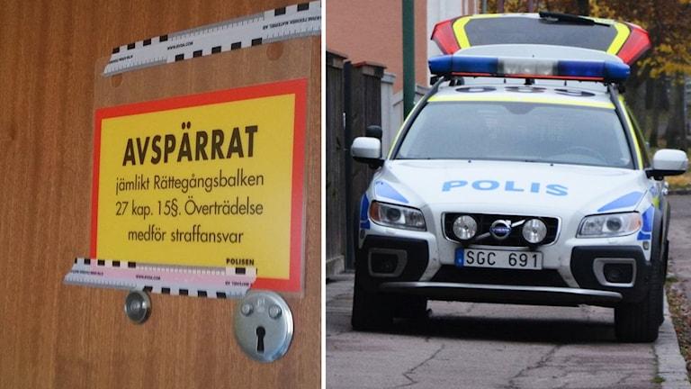 Avspärrning och polisbil. Foto: Helmuth Petersson