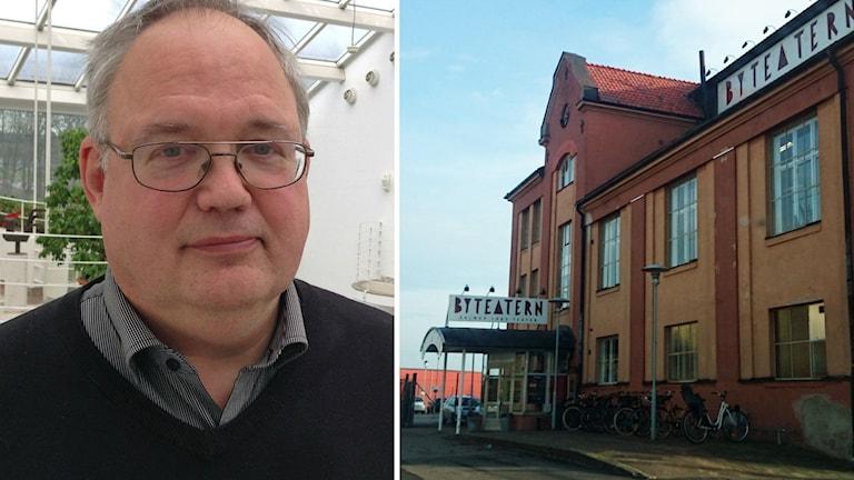 Kollage. Till vänster: Bo Karlsson, gruppledare för SD i Landstinget i Kalmar län. Till höger: Byteatern