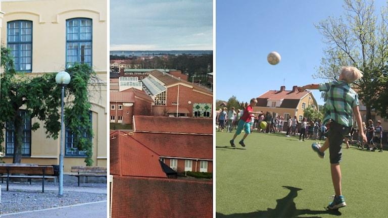 Byggnader och barn som sparkar boll. Foto: Nick Näslund/Sveriges Radio