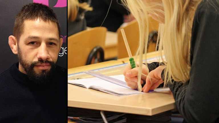 Collage med Musse Hasselvall och elev vid skolbänk. Foto: Sveriges Radio