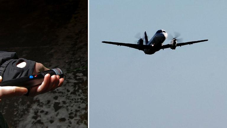 Laserpekare och flygplan som lyfter.