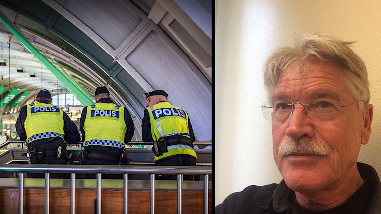 Till vänster uniformerade poliser. Till höger psykologen Bengt Fredriksson. Foto: Yvonne Åsell/SVD/TT & Privat