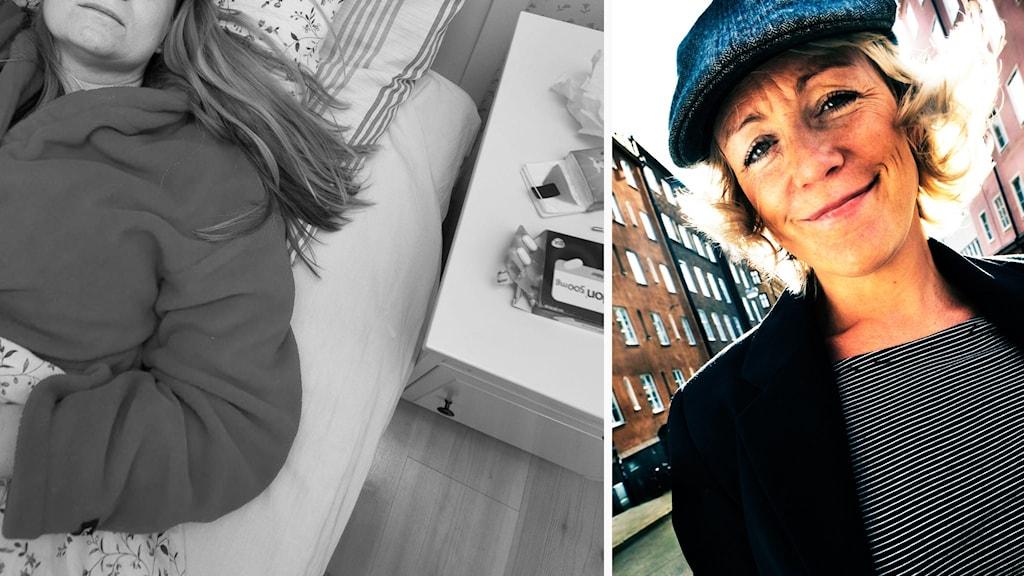 Kollage: Kvinna med PMS/Karin Adelsköld.