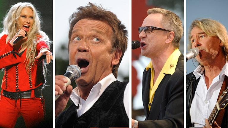 Sanne Salomonsen, Björn Skifs, Mats Ronander och Peter Lundblad. Foto: TT.