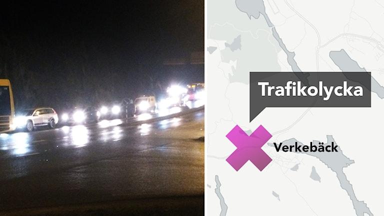 Karta: Olycka vid Verkebäck. Foto: Leif Johansson/Sveriges Radio och CartoDB