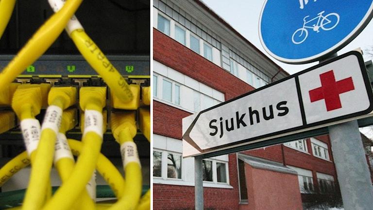 Datakablar och sjukhus. Foto: Nick Näslund/Sveriges Radio