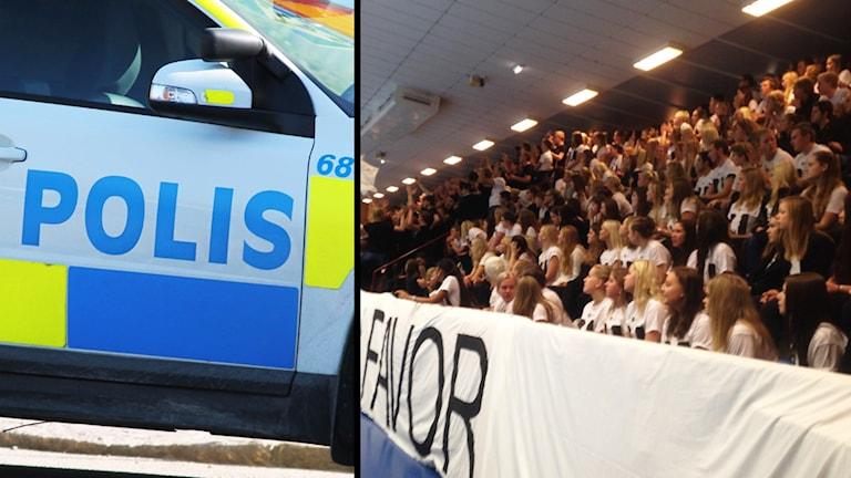 Till vänster en polisbil, till höger publik på läktare.
