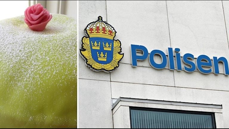 Tårta och polishus. Foto: Sveriges Radio