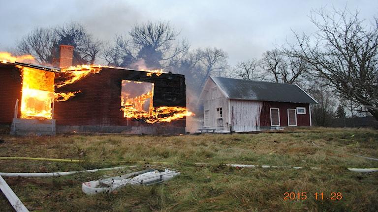 Branden i Ormestorp. Foto: Räddningstjänsten.