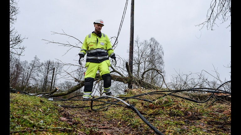 Repair work after Storm Gorm. Two men working to restore power lines were injured on Tuesday. Photo: Johan Nilsson/TT
