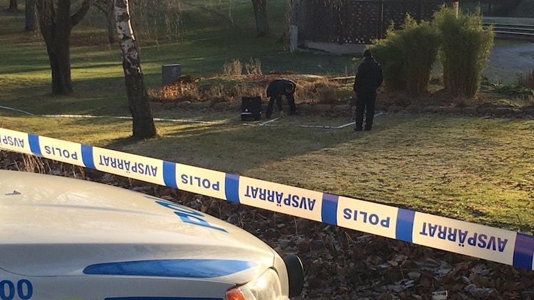 Polisens avspärrning. Foto: Peter Bressler/Sveriges Radio