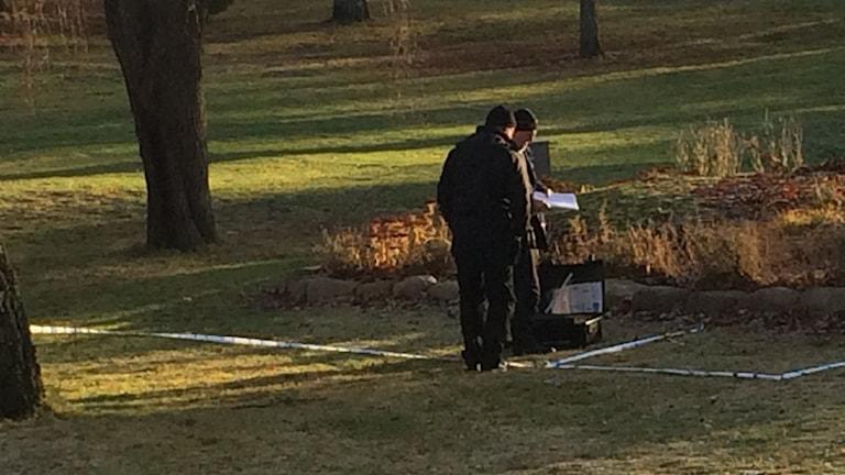 Polisens tekniker undersöker misstänkt mordplats i Stadsparken i Oskarshamn. Foto: Peter Bressler/Sveriges Radio
