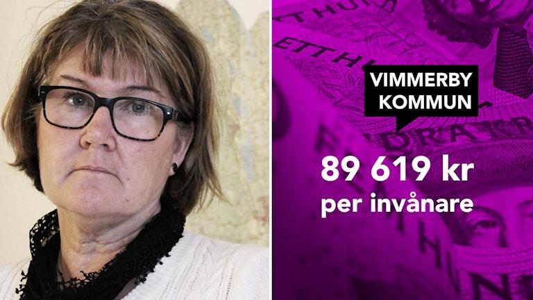 Helen Nilsson. Foto: Johanna Lindblad Ahl/Sveriges Radio. 89 619 kronor i skuld per invånare. Grafik/foto: Nick Näslund/Sveriges Radio